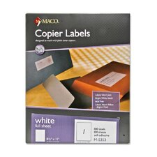 "Copier Labels, 100 Sheets Per Box, 8-1/2""x11"", White"