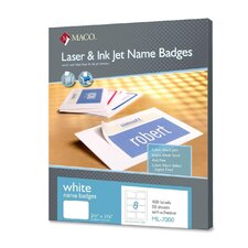 "Name Badge Labels, Laser/Inkjet, 2-1/3""x3-3/8"", 50 Sheets per Box, White"