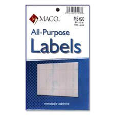 "Multipurpose Labels, Removable, 3/8""x1-1/4"", 1000 per Pack, White"