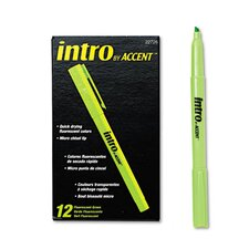 Intro Highlighters, Chisel Tip, Fluorescent Orange, 12/Pk