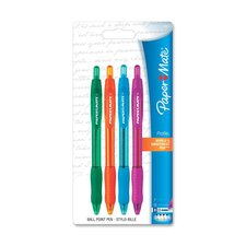 Ballpoint Pen, Retractable, 4 per Pack, Magenta/Orange/Turqouise/Green