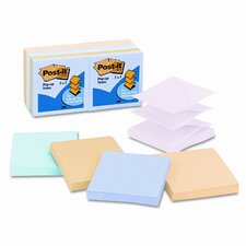 Pop-Up Note Refills, 3 x 3, Five Pastel Colors, 12 100-Sheet Pads/Pck