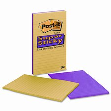 Super Sticky Notes, 5 x 8, Assorted Ultra Colors, 4 45-Sheet Pads/pk