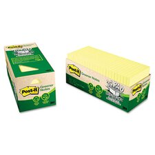 Recycled Notes, 3 x 3, Canary Yellow, 24 75-Sheet Pads/Pack