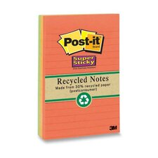 "Super Sticky Notes, Recycled, 4""x6"", 4 per Pack, Nature Colors"