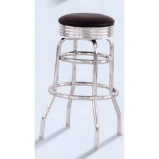 "Retro Chrome Circle 30"" H Backless Bar Stool"