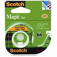 "Magic Office Tape with Refillable Dispenser, 1/2"" x 12-1/2 Yards, Clear"