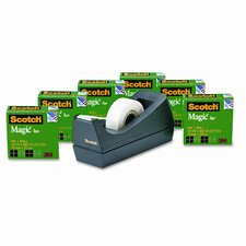 "Magic Tape Value Pack with Dispenser, 3/4"" x 28 Yards, 1"" Core, Six/Pack"