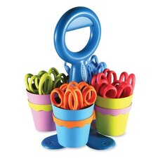 School Scissor Caddy and 25 Kids Scissors with Microban
