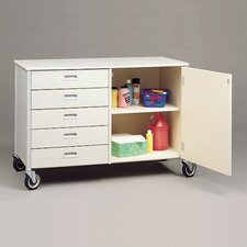 Five Drawer Storage Cabinet with Shelf