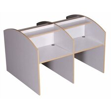 Double Sided Teak H Study Carrel Add On