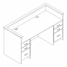 Library Modular Front System Executive Desk Workstation with Drawers