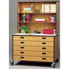 Mobile Drawer Cabinet with Hutch