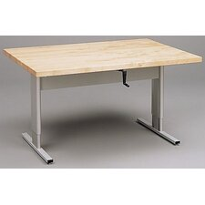 Adjustable Craft Table with Solid Maple Top and Hand Crank