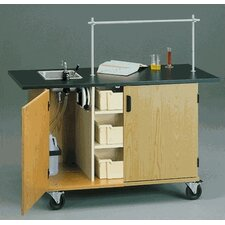 "60"" W Mobile Science Lab Station with Black HPL Top and Tray Storage"