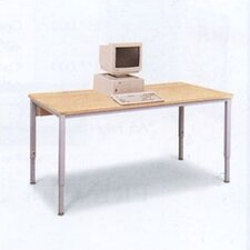 Short Computer Table with Flip Top Wire Management and Adjustable Height