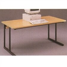 C-Leg Wide Adjustable Height Computer Table with Flip Top Wire Management