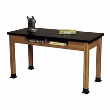 Wood Science Table with Book Storage and Black HPL Top
