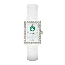 NBA Ladies Fashion Watch with White Leather Strap