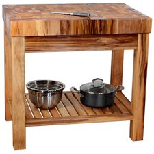Boulder Kitchen Island with Butcher Block Top