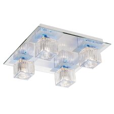 Leader 4 Light Flush Mount in Clear