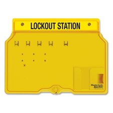 Padlock Station, Holds 4 Safety Padlocks, Yellow