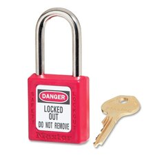 "Safety Padlock, Labeled, 1/4""Dx1.5"" Tall Shackle, Red"