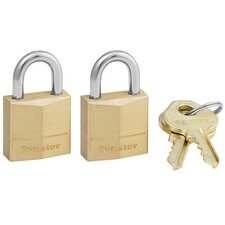Three-Pin Brass Tumbler Locks 2 Locks and 2 Keys/Pack