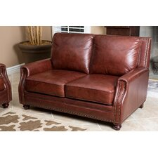 <strong>Abbyson Living</strong> Bel Air Hand Rubbed Leather Loveseat