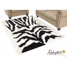 Zebra Print Shag Indoor/Outdoor Rug