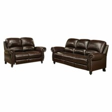 <strong>Abbyson Living</strong> Charlotte Leather Sofa and Loveseat Set