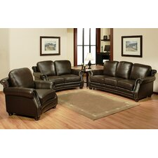 <strong>Abbyson Living</strong> Marx Top Grain Leather Sofa, Loveseat and Arm Chair Set