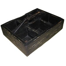 Wooden Tray with Compartments in Black