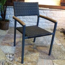 Resin Wicker Chair with Teak Arms