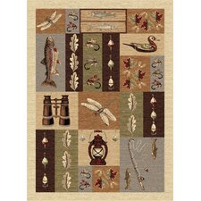 Nature Fishing Motif Novelty Rug