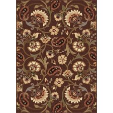 Elegance Brown Floral Rug