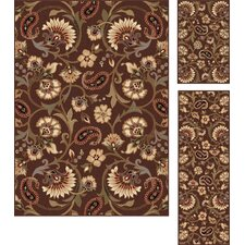Elegance Brown Floral Rug 3 Piece Set