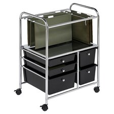 "28.75"" 5 Drawer Hanging File Cart in Chrome/Black"