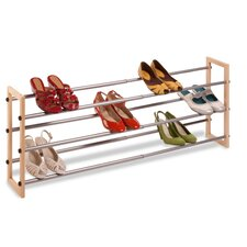 3-Tier Expandable Wood and Metal Shoe Rack