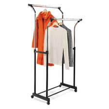 Flared Double Garment Rack in Black and Chrome