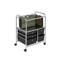 5 Drawer Hanging File Cart in Chrome/Black