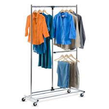 <strong>Honey Can Do</strong> Dual Bar Adjustable Garment Rack in Chrome