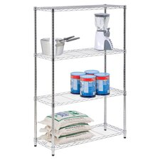 Four Tier Shelving Unit in Chrome