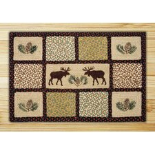 Moose/Pinecone Quilt Patch Rug