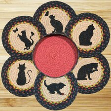 7 Piece Cats Trivets in a Basket Set