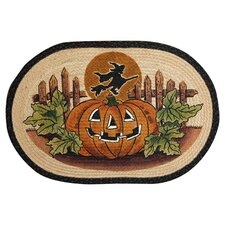 Jack O Lantern and Witch Novelty Rug