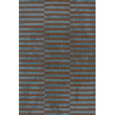 Marled Ladder Blue/Brown Graphic Rug
