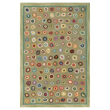 Hooked Cats Paw Sage Micro Geometric Area Rug