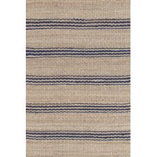 Jute Ticking Woven Indigo Area Rug