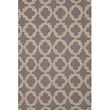Hooked Plain Tin Grey Geometric Area Rug